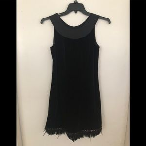 Kay Unger party  dress in velvet with feather hem
